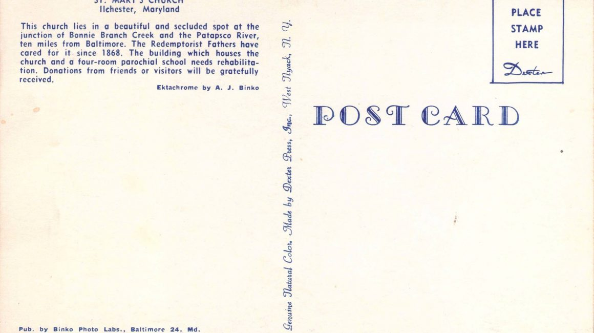 Back side of post card from St Mary's Seminary