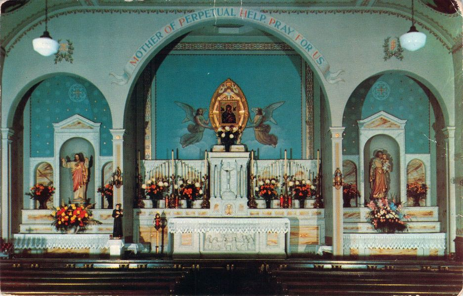 Post Card from chapel in St. Mary's Seminary, located in Ilchester Road that was maintained by the Redemptorists Order