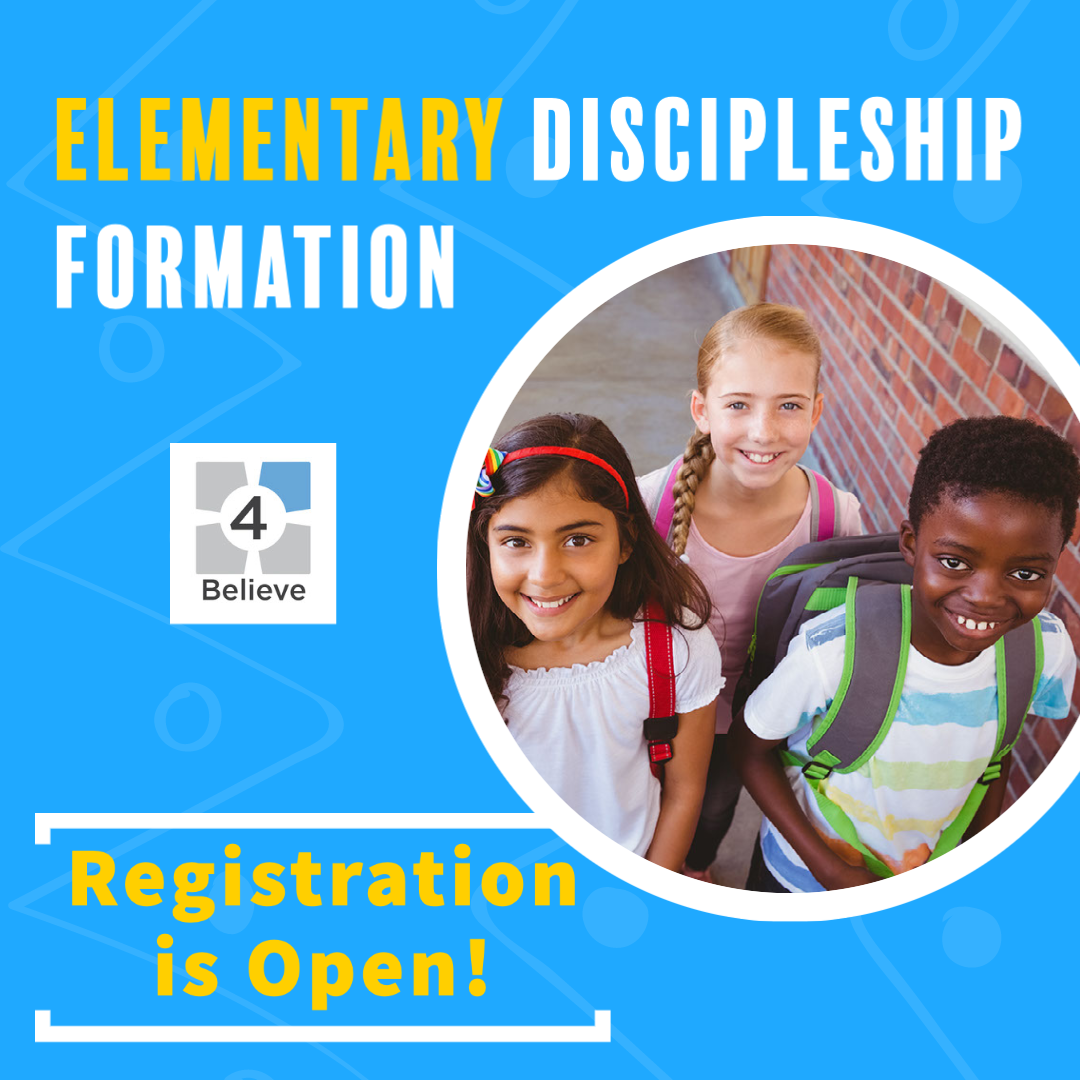 Graphic advertising the fact that registration is open for Elementary Religous ed for the 2021/2022 school-year.