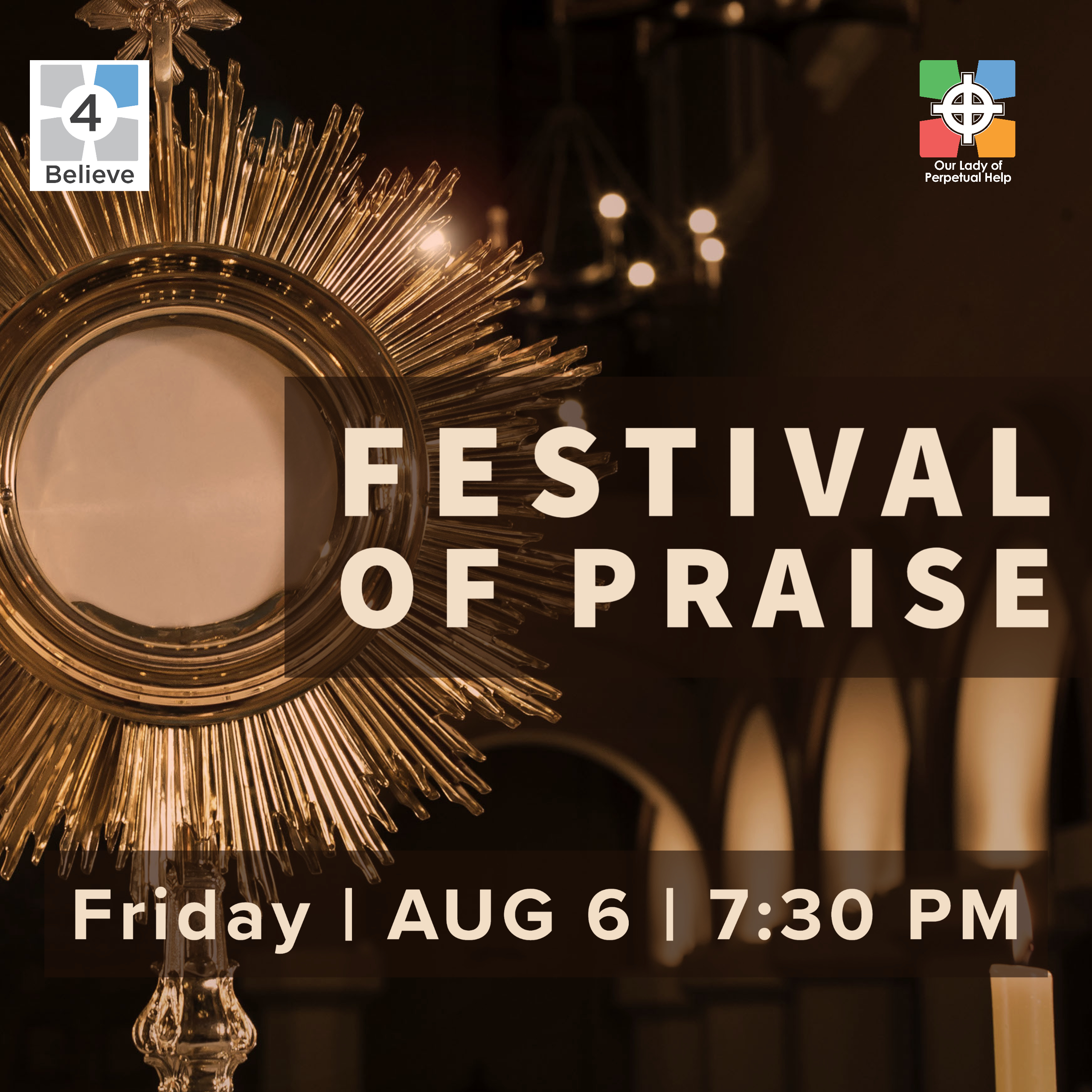 Graphic for Festival of Praise at OLPH Church in Ellicott City for Aug 2021
