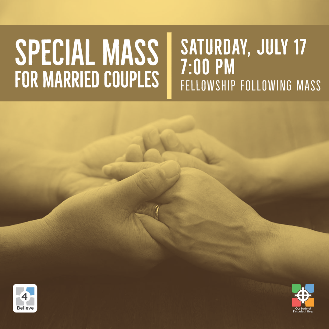 graphic for mass for married Couples, Saturday July 17 at 7:30PM