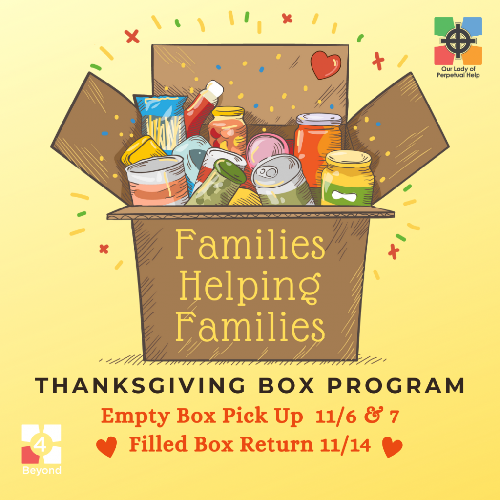 Thanksgiving Box, Families helping Families graphic