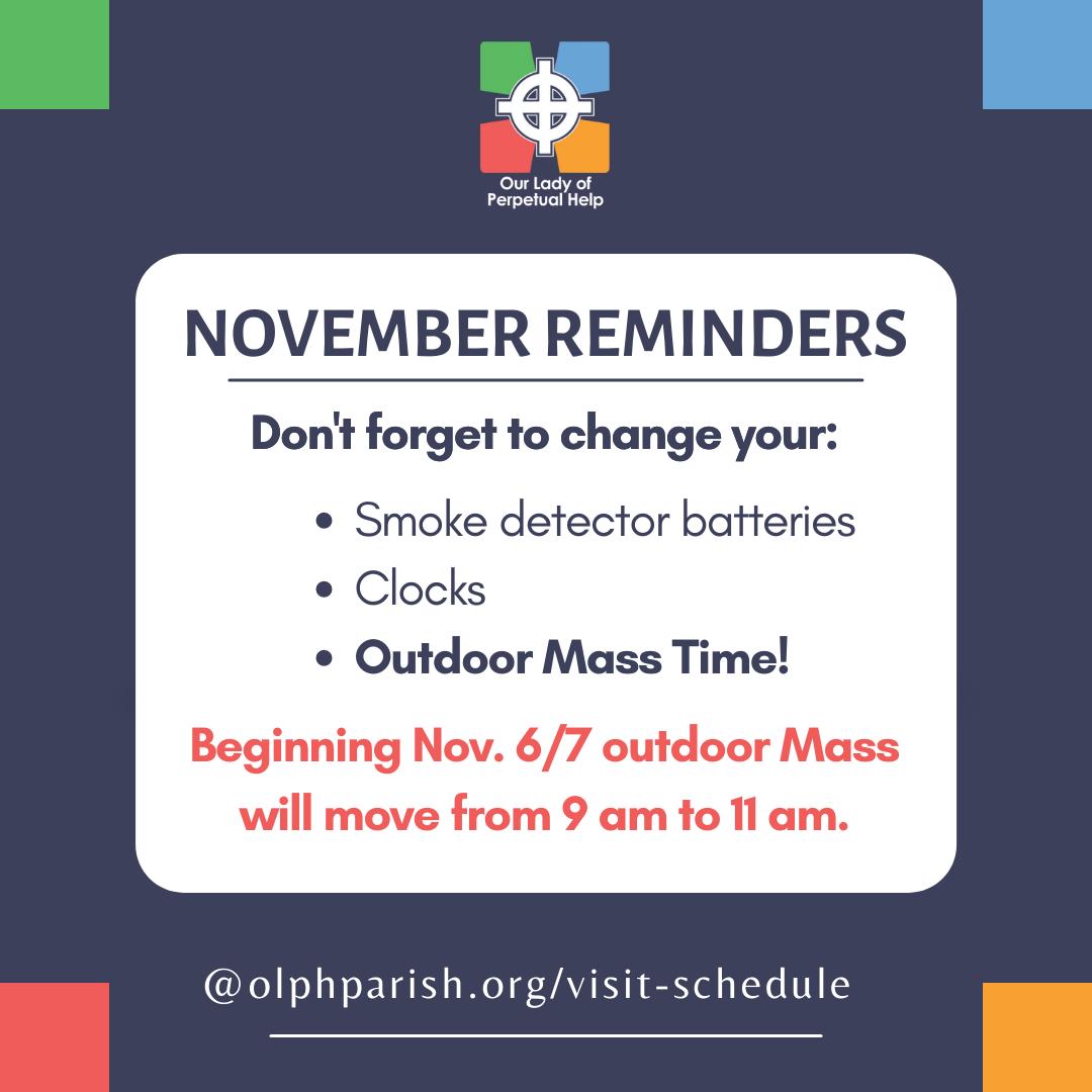 November 2021 reminders
